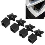 4 PCS Star Shape Gas Cap Mouthpiece Cover Tire Cap Car Tire Valve Caps (Black)