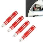 4 PCS Long Bullet Shape Gas Cap Mouthpiece Cover Tire Cap Car Tire Valve Caps (Red)