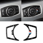 2 PCS Car USA Color Carbon Fiber Headlight Frame Decorative Sticker for Ford Mustang 2015-2017