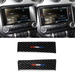 2 PCS Car USA Color Carbon Fiber Central Control Decorative Sticker for Ford Mustang 2015-2017