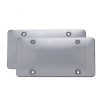 2 PCS Plastic Car license Plate Frame Tag Cover (Grey)