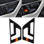 2 PCS German Flag Car Carbon Fiber Seat Adjustment Panel Decorative Sticker for Mercedes-Benz W204 2007-2013