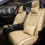 Car Leather Full Coverage Seat Cushion Cover, Luxury Version (Beige)