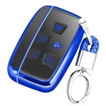 TPU One-piece Electroplating Full Coverage Car Key Case with Key Ring for LAND ROVER Aurora / Discover God / Range Rover & JAGUAR (Blue)