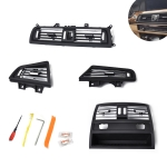 Car Plating Center + Right + Left + Rear Console Grill Dash AC Air Vent 64229166883 for BMW 5 Series, with Installation Tools