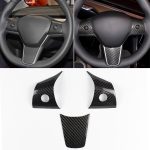 2 PCS Car Carbon Fiber Steering Wheel Decorative Laminated for Tesla Model 3