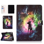Colored Pattern Drawing Horizontal Flip PU Leather Case with Three-folding Holder & Sleep / Wake-up Function for iPad Pro 11(Nebula deer)