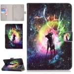 Colored Pattern Drawing Horizontal Flip PU Leather Case with Three-folding Holder & Sleep / Wake-up Function for 7 inch Tablet PC(Nebula deer)