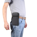 Single checked denim Multi-functional Universal Mobile Phone Waist Pack Case for 6.3 Inch or Below Smartphones (Black)