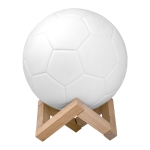 Creative Remote Control USB Charging 3D Football Lamp LED Night Light with Wooden Holder Base (White)