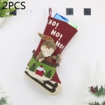 2 PCS CX20228 Santa Claus Pattern Christmas Sock Gift Bag Christmas Tree Pendant Decoration