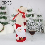2 PCS CX20216 Santa Claus Pattern Wine Bottle Bag Christmas Decoration