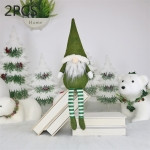 2 PCS CX20218 Faceless Long-legged Sitting Doll Window Ornament Christmas Decoration (Green)
