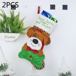 2 PCS CX20224 Dog Pattern Christmas Sock Gift Bag Christmas Tree Pendant Decoration
