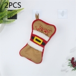 2 PCS CX20223 Multi-function Bone Shape Christmas Sock Gift Bag Knife Fork Sleeve Christmas Tree Pendant Decoration (Brown)