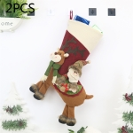 2 PCS CX20226 Santa Claus Pattern Christmas Sock Gift Bag Christmas Tree Pendant Decoration