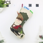 2 PCS CX20227 Santa Claus Pattern Christmas Sock Gift Bag Christmas Tree Pendant Decoration