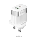 hoco C58B Prominent PD+QC3.0 Charger, UK Plug (White)