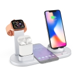 HQ-UD15 5 in 1 8 Pin + Micro USB + USB-C / Type-C Interfaces + 8 Pin Earphone Charging Interface + Wireless Charging Charger Base with Watch Stand(Silver)