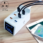 CDA31 40W QC 3.0 USB + 5 USB Ports Multi-function Charger with LED Display, UK Plug