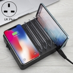 i9 50W 6 USB Ports + 2 USB-C / Type-C Ports + Wireless Charging Multi-function Charger with LED Display & Detachable Bezel, UK Plug