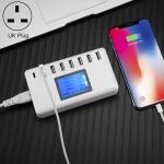 i10 40W 7 USB Ports + USB-C / Type-C Port Multi-function Charger with LED Display, UK Plug