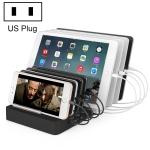 X6 96W 2.4A 8 USB Ports Smart Charger with Detachable Bezel, US Plug (Black)