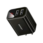 USAMS US-CC072 T17 Dual USB LED Display Travel Charger, CN Plug(Black)