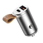 rock space RCC0153 30W USB-C / Type-C + USB-A Mini Car Charger with Easy Pull Belt(Silver)