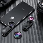 ROCK RCB0754 3 in 1 120 Degree Wide Angle + 230 Degree Fisheye + 15X Macro Universal Mobile Phone Lens Set(Black)