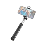 HOCO RUILI K10A 1.1M Bluetooth Fill-In Light Monopod Folding Extendable Handheld Pocket Holder Selfie Stick (Black)