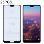 25 PCS 9H 5D Full Glue Full Screen Tempered Glass Film for Huawei P20