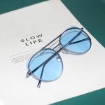 7254 Radiation Protection Color Cat Eye Metal Frame Sunglasses(Blue)