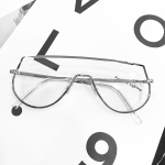 7718 Hollow Metal One Piece Frame One Piece Sunglasses (Silver Frame Transparent)