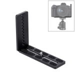 PULUZ 1/4 inch Vertical Shoot Quick Release L Plate Bracket Base Holder for MOZA / DJI / Zhiyun / Nebula  3-Axis Stabilizer (Black)