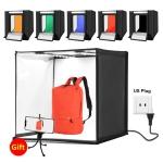 PULUZ Photo Studio Light Box Portable 60 x 60 x 60 cm Light Tent LED 5500K Mini 60W Photography Studio Tent Kit with 6 Removable Backdrop (Black Orange White Green Blue Red) (Japan PSE Plug)