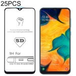 25 PCS 9H 5D Full Glue Full Screen Tempered Glass Film for Galaxy A30 / A50 / M30