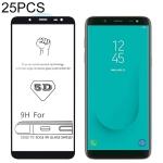 25 PCS 9H 5D Full Glue Full Screen Tempered Glass Film for Galaxy J6 (2018)