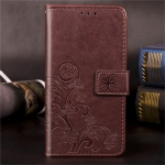 Lucky Clover Pressed Flowers Pattern Leather Case for Huawei Honor 9X , with Holder & Card Slots & Wallet & Hand Strap(Brown)