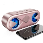 S6 10W Portable Bluetooth 5.0 Wireless Stereo Bass Hifi Speaker, Support TF Card AUX USB Handsfree with Flash LED(ROSE GOLD)