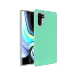 Ultra-thin TPU+PC Brushed Texture Shockproof Protective Case for Galaxy Note10, with Holder & Card Slot(Green)