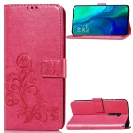 Lucky Clover Pressed Flowers Pattern Leather Case for OPPO Reno 10x Zoom, with Holder & Card Slots & Wallet & Hand Strap(Rose)