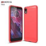 Brushed Texture Carbon Fiber TPU Case for MOTO E6(Red)