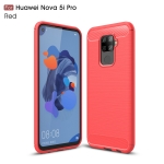 Brushed Texture Carbon Fiber TPU Case for Huawei Nova 5i Pro(Red)
