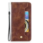 Copper Buckle Nappa Texture Horizontal Flip Leather Case for Galaxy A6 Plus, with Holder & Card Slots & Wallet(Brown)