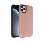 Ultra-thin TPU+PC Brushed Texture Shockproof Protective Case for iPhone XI Max 2019 , with Holder & Card Slot(Rose gold)