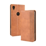 Magnetic Buckle Retro Crazy Horse Texture Horizontal Flip Leather Case for Motorola Moto E6,with Holder & Card Slots & Photo Frame(Brown)