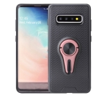 Non-slip Y-shaped TPU Mobile Phone Case with Rotating Car Bracket for Galaxy S10(Rose gold)
