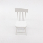 3 PCS Doll House Miniature Dining Room Furniture Wooden Chair Children Educational Toys(White)