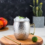 2 PCS Copper Plating Stainless Steel Mug Cocktail Glass Beer Mug Stainless Steel, Style:Hammer point